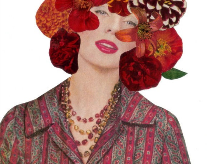 Floral Themed Art Collage, Red Flower Artwork
