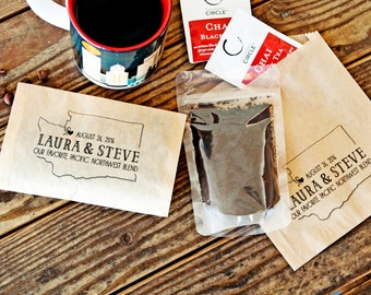 Pacific Northwest Favor Bag - Wedding or Party - Seattle Washington Coffee Favors Bags - 20 Grease Resistant Bags