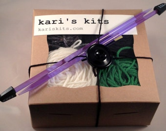 Beginner knitting kit knit cowl pattern, Othello - FREE SHIPPING - Kari's Kits