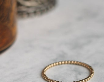 Dotted Stacking Ring - Gold Fill | Gold beaded stacking ring | Midi ring | Knuckle ring | Stackable rings | Handmade stacking ring
