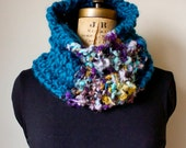 Chunky knit cowl Neckwarmer/ Teal Purple Gold/ bohemian handmade knit wear.