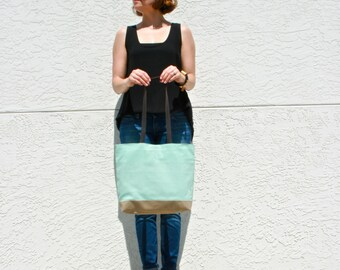Turquoise Canvas Tote Bag with Brown Leather Straps