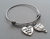 Hot Air Balloon Bracelet, Hot Air Balloon Charm Bracelet, Hot Air Balloon Bangle, Inspirational Jewelry, Stainless Steel Adjustable Bangle