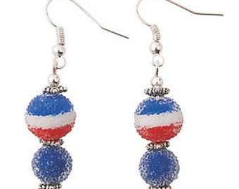 Patriotic Sugar Bead Earrings