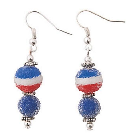 Patriotic Sugar Bead Earrings