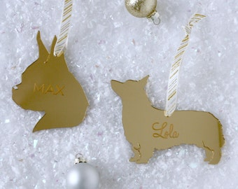 Custom Silhouette Dog / Pet Christmas Ornaments in Mirrored Acrylic made with YOUR OWN Pet's Silhouettes Gold Dog Ornaments