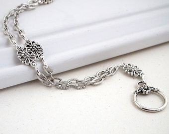 Antiqued Silver Chain ID Badge Lanyard, Silver Flower Filigree Links, Flower Toggle Clasp