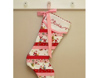 Christmas Stocking, Personalized, Quilted Christmas Stocking, Baby Girl Stocking, Embroidered Christmas Stocking. Monogrammed Stocking