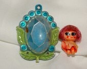 1967 Kiddle, #3747 Blue Flower Locket, Bracelet, Liddle Kiddles - Kiddle Jewelry Collection - Rare Bright Colors, 49 Year Old Doll, Red Head
