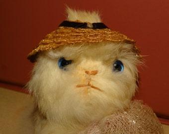 Rare Fur Blue Eyed Stuffed Kitten, Stuffed Animal, Cat, Feline, Meow, White Kitten, Glass Eyes, Wicker Hat, Toy Stuffed Kitten