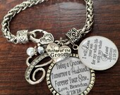 Mother of the GROOM bracelet, Mother of the groom gift, Mother of the BRIDE gift, mother in law, personalized wedding keepsake, INITIAL