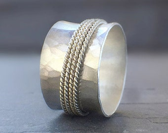Wide Hammered Silver Spinner Ring with Four Patterned Bands in Silver or Gold, Meditation Ring, Fidget Ring, Worry Ring