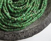 MINI matte green seed beads, opaque fresh green glass bead,  earthy rustic organic  tube barrel spacer Indonesia  - 1 to 2mm /44 inches 5A-1