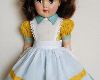 "For 21"" Ideal P-93 Toni Doll - Pinafore Dress Inspired by Original in Green and Yellow"