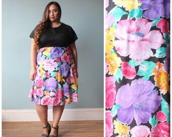 plus size dress / black floral color block dress / 1980s / XXL