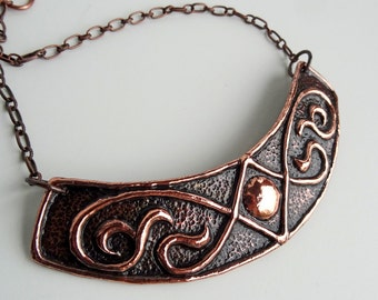 Hammered Copper Repousse Collar & Earrings, Circle in Diamond, Vines, Renaissance, Statement, Arc, Choker