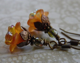 Orange Blossom Flower Earrings with Lucite Flowers, Czech Glass, and Antique Brass