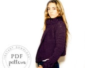 PDF pattern SERENA cropped  chunky cardigan coat trendy jacket cables