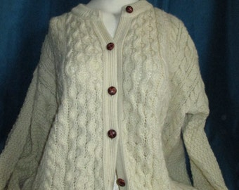 Vintage Sweater Mens Classic Irish Knit Cardigan Sweater Size L XL with Leather Buttons, Made in Scotland, Cable Knit Ecru Fisherman Sweater