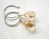 Shimmer Earrings - rutilated quartz gemstone earrings, gold needles, silver drops, handmade jewelry, gifts under 50, bridal jewelry, DE25