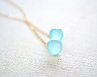 Morning Dew Necklace - aqua chalcedony necklace, double Y chalcedony necklace, aqua blue chalcedony necklace, bridal blue