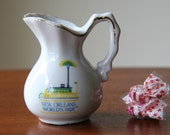 NOLA WORLD'S FAIR: Vintage 1984 Louisiana World Exposition Souvenir Mini-Pitcher / Planter / Toothpick or Q-Tip Holder