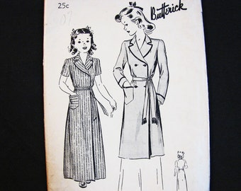 1940s Robe Pattern Tween Girls Size 12 UNCUT 40s Butterick Pattern, Long or Short Double Breasted Robe Vintage Sewing Pattern