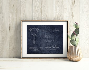 SR-71 Blackbird airplane blueprint art, aviation decor, airplane decor, husband gift, blackbird blueprint, military art, father's day gift