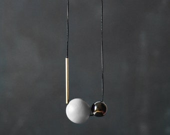 Geometric Necklace / Modern Jewelry / Grey Pearly Black Brass Necklace