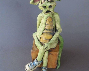 Green Dragon in Chuck Taylor Converse Sneakers Whimsical Ceramic Sculpture