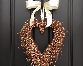Coral Berry Wreath - Heart Shaped Wreath - Heart Shaped Coral Wreath - Wedding Wreath