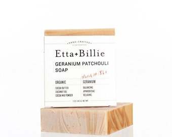 Geranium Patchouli Soap Organic Ingredients Vegan 5 oz