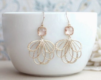 Peach Wedding Earrings, Peach Feather Earrings, Champagne Blush Earrings, Blush Peach Earrings, Gold Feathers Earrings, Bridesmaids Earrings