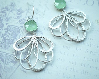 Mint Earrings Dangle Earrings Silver Plated Feather Earrings Mint Green Earrings. Mint Wedding Dangle Earrings Leaf Earring Bridesmaids Gift