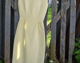 Vintage Dress, Yellow Dress, Wiggle Dress, Pencil Dress, Pin Up Dress, 60s Dress, Preppy Dresses, Day Dress, Rockabilly Dress, Retro Dress