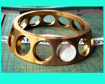 Brass Bearing Cage, Really Big, industrial steampunk doorstop, taper funnel shape, Single Row Ball Bearing, found art metal sculpture