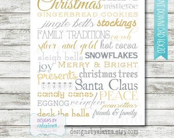 16x20 Christmas Subway Word Art Decor / Silver / Gold / Typography / Wall Art / Printable / Digital File / INSTANT DOWNLOAD