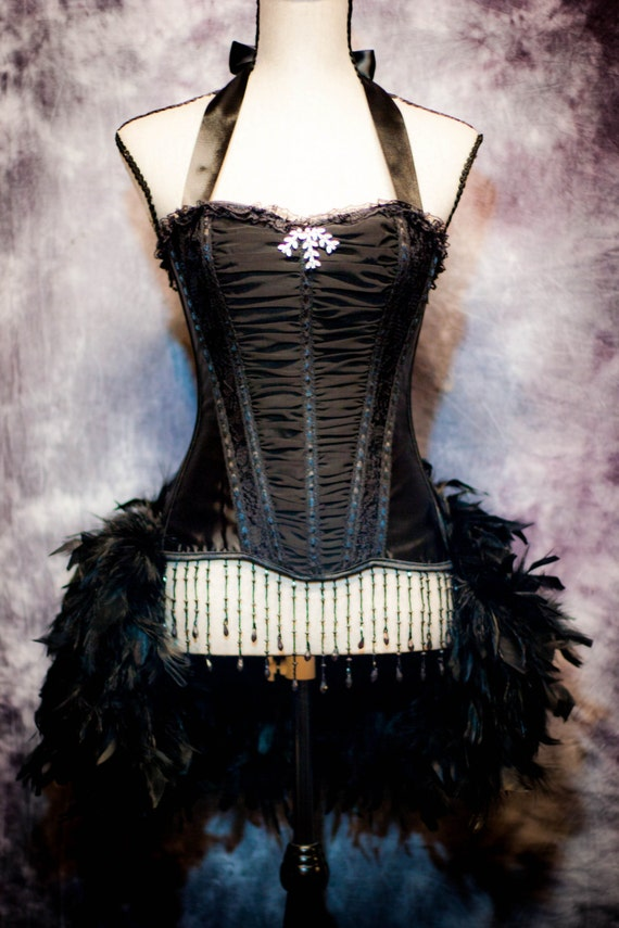 ECLIPSE Ruffle Black Corset Gothic Costume Burlesque Showgirl feather train