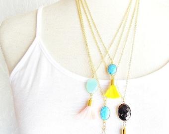 Aqua Chalcedony Gemstone Tassel Necklace - Pink Tassel Necklace - Gemstone Pendant Necklace - Long Tassel Necklace - Layering Necklace