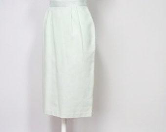 Vintage Skirt Pencil Skirt Straight Skirt Mint Green High Waisted 1980's Skirt Size 7 Small