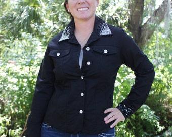 Women's Small Black Rhinestone Crystal Bling Western Barrel Horse Denim Jacket
