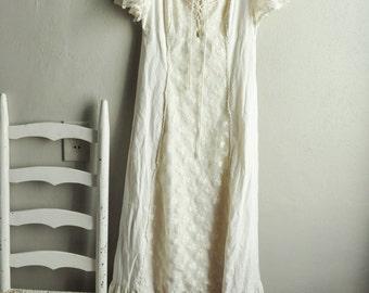 Vintage Gunne Sax Style Peasant Dress Maiden Boho Maxi Renaissance Natural Muslin
