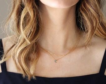 Mini Turquoise Crescent Moon Necklace
