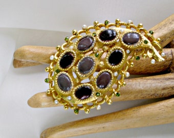 Coro Brooch Big Paisley Pin Vintage Signed Jewelry Rhinestones Faux Pearls