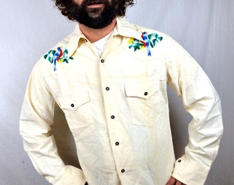 Awesome Vintage 1970s Embroidered Bird Mexican Button Up Shirt