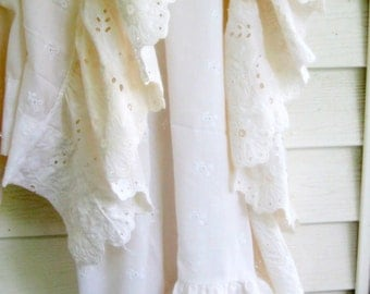 Eyelet Frilled Curtain, Frilled Eyelet Curtain Panel, French Country, Cottage Charm, Shabby French, by mailordervintage on etsy