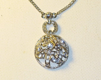 Vintage Givenchy Silver Tone Clear Rhinestone Pendant Necklace (N-1-1)