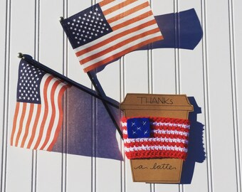 Fourth of july decor, fourth of july party, July 4th decor, stars and stripes, american flag cup cozy, american flag mug, coffee cup holder