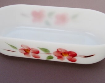 Fire King GAY FAD Handpainted Peach Blossoms OVAL Refrigerator Dish Anchor Hocking