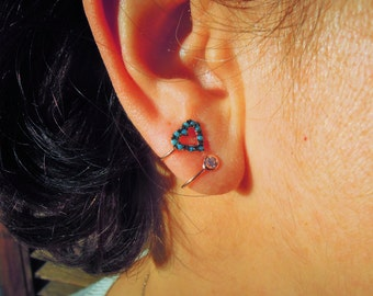 ear cuff earrings, turquoise, love crystal jacket earrings ear jacket cuff earrings something blue glowing jewelry girlfriend christmas gift